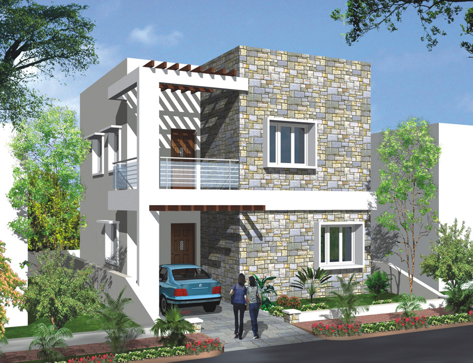Affordable flats and independent villas by modi properties for Duplex bungalow elevation